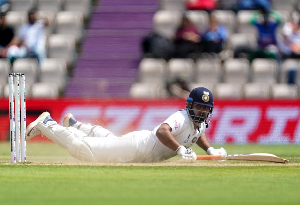 India's Rishabh Pant survives a run out during day six of the ICC World Test Championship Final match at The Ageas Bowl, Southampton. Picture date: Wednesday June 23, 2021. (Photo by Adam Davy/PA Images via Getty Images)