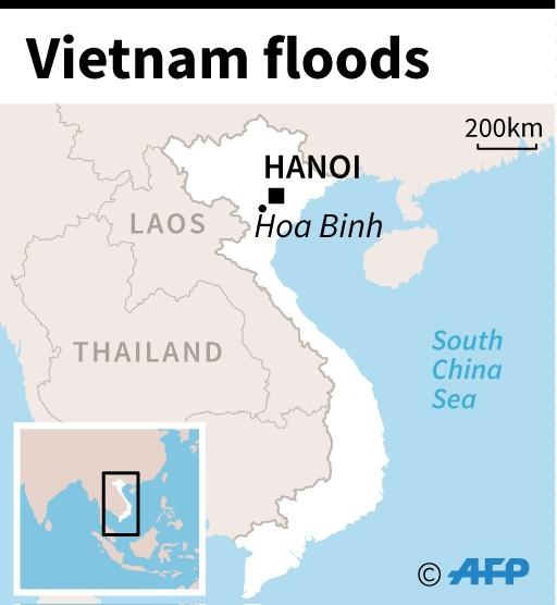 Map of Vietnam showing Hoa Binh province, worst hit by flooding that has ravaged six provinces this week. (AFP Photo/AFP  )