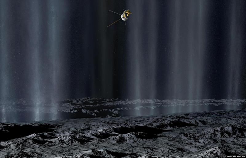 In this artist's concept, the Cassini spacecraft makes a close pass by Saturn's moon Enceladus to study plumes from geysers that erupt from giant fissures in the moon's southern polar region: REUTERS/NASA/Karl Kofoed