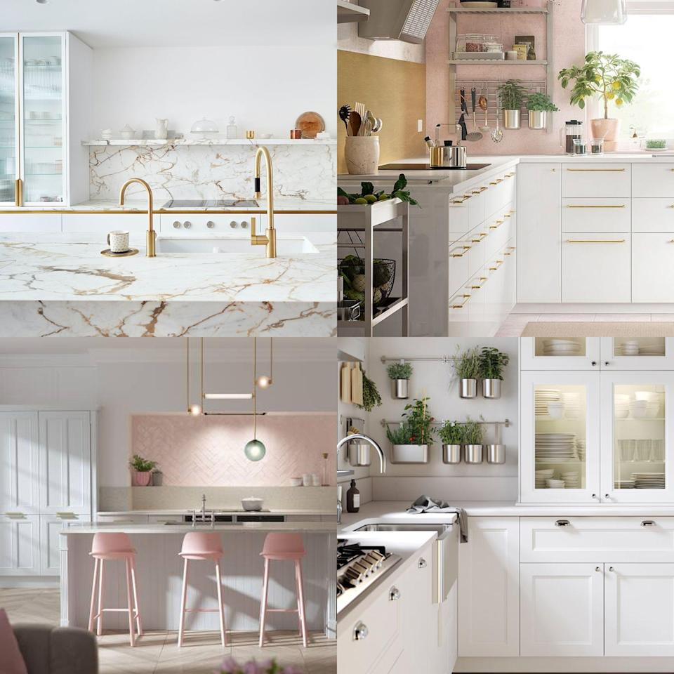 """<p><strong>When it comes to timeless design schemes in the home, a white kitchen could arguably top the list. A white <a href=""""https://www.housebeautiful.com/uk/decorate/kitchen/g423/best-kitchen-design-trends/"""" rel=""""nofollow noopener"""" target=""""_blank"""" data-ylk=""""slk:kitchen"""" class=""""link rapid-noclick-resp"""">kitchen</a> can be simple and <a href=""""https://www.housebeautiful.com/uk/decorate/home-office/news/a3397/minimalist-office-desk-space-pinterest/"""" rel=""""nofollow noopener"""" target=""""_blank"""" data-ylk=""""slk:minimalist"""" class=""""link rapid-noclick-resp"""">minimalist</a>, decadent and luxurious, or charming and rustic – the possibilities are endless when you start with such a versatile base. </strong><br></p><p>Minimalists are spoilt for choice with sleek, handless white cabinets, the perennially popular subway tile, and a smattering of Scandi-inspired <a href=""""https://www.housebeautiful.com/uk/house-beautiful-collections/g36913062/homebase-furniture-accessories/"""" rel=""""nofollow noopener"""" target=""""_blank"""" data-ylk=""""slk:accessories"""" class=""""link rapid-noclick-resp"""">accessories</a>. Those with more decadent tastes can add classic marble countertops, brass accents, and interesting architectural detailing like decorative moulding and reeded glass. A country kitchen meanwhile can take off-white shaker cabinetry, charming, mismatched accessories, and an abundance of natural wood.</p><p><a href=""""https://www.housebeautiful.com/uk/decorate/looks/a36342821/white-paint/"""" rel=""""nofollow noopener"""" target=""""_blank"""" data-ylk=""""slk:White"""" class=""""link rapid-noclick-resp"""">White</a> is a gift when it comes to creating a complementary <a href=""""https://www.housebeautiful.com/uk/decorate/looks/g37289366/colour-combinations/"""" rel=""""nofollow noopener"""" target=""""_blank"""" data-ylk=""""slk:colour palette"""" class=""""link rapid-noclick-resp"""">colour palette</a>, at home amongst other soft neutrals, as a clean contrast to jewel tones, or in a dramatic monochromatic paring. And of course, the classic grey and white <a href="""""""
