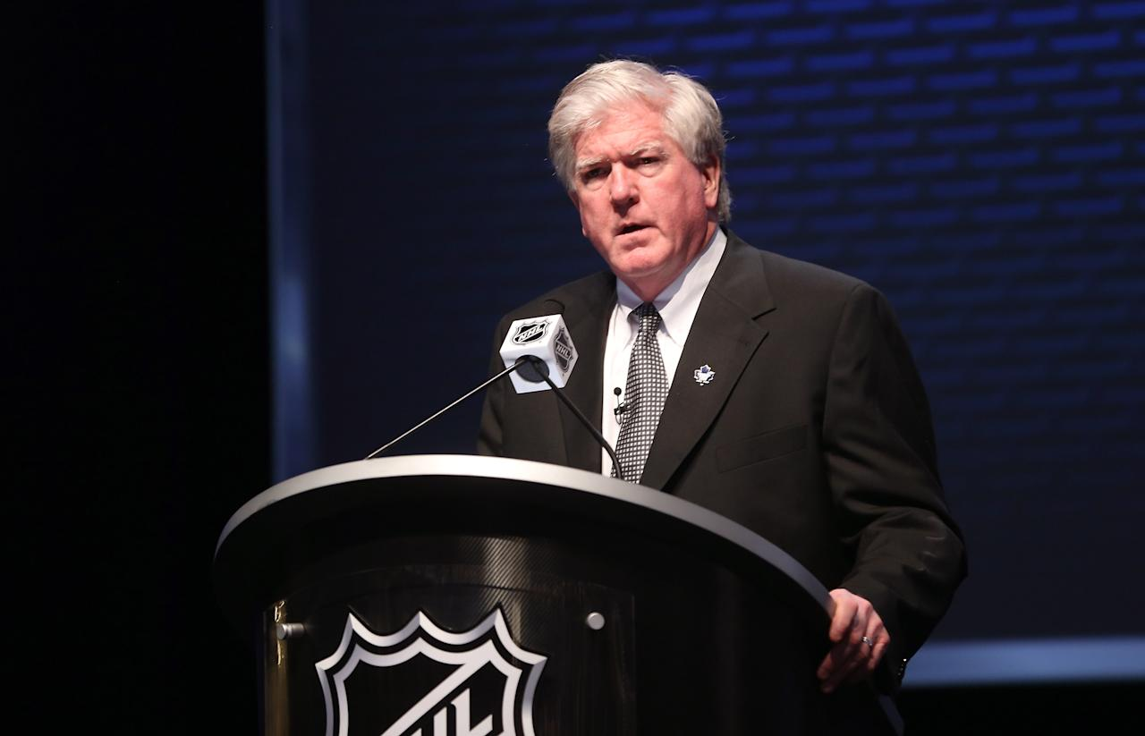 PITTSBURGH, PA - JUNE 22: General manager Brian Burke of the Toronto Maple Leafs speaks on stage during Round One of the 2012 NHL Entry Draft at Consol Energy Center on June 22, 2012 in Pittsburgh, Pennsylvania.  (Photo by Bruce Bennett/Getty Images)