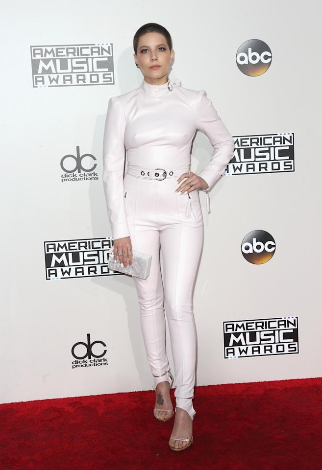 <p>Halsey looked tough in a white leather jumpsuit. <em>(Photo: Getty Images)</em> </p>