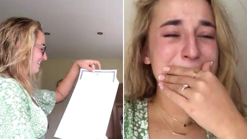 Lucy Fitz, and Irish beauty influencer read her final exam results on an Instagram livestream. Source: Instagram.