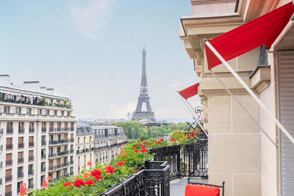"""<p>Set on the prestigious Avenue Montaigne, the French fashion boulevard, the <a href=""""https://www.dorchestercollection.com/en/paris/hotel-plaza-athenee/"""" rel=""""nofollow noopener"""" target=""""_blank"""" data-ylk=""""slk:Plaza Athénée"""" class=""""link rapid-noclick-resp"""">Plaza Athénée</a> is Paris' home of haute couture. Christian Dior opened his first boutique right on the other side of the Avenue to attract the Plaza's guests and held many fashion shows and photo-shoots at the hotel. Over the years, the Palace became the rendezvous point for many film producers, directors, actors and models. This passion for fashion goes from the decoration of the 208 rooms and suites to the Dior Institut Spa. The recently renovated seventh floor, by the duo Bruno Moinard and Claire Bétaille, brings an art deco touch to the classical interiors of the Palace.<br></p>"""
