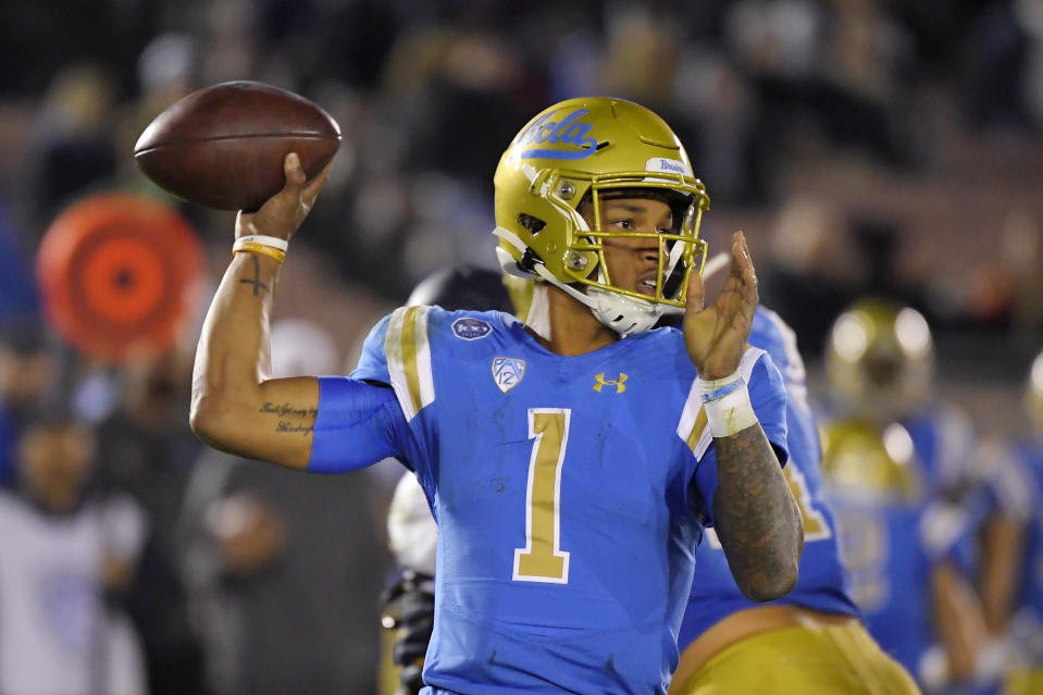 UCLA QB Dorian Thompson-Robinson is a fascinating prospect if he keeps improving. (AP Photo/Mark J. Terrill)