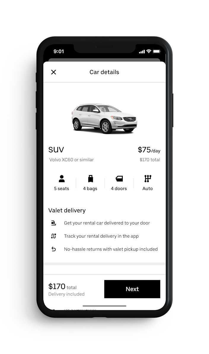 Uber Rent pricing varies by location, date and booking time, but Caleb Varner, Global Head of Uber Rent, said the company aims to offer competitive pricing.