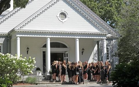 The funeral service was held at Our Lady of Victory Church in Centerville, Massachusetts - Credit: Rex