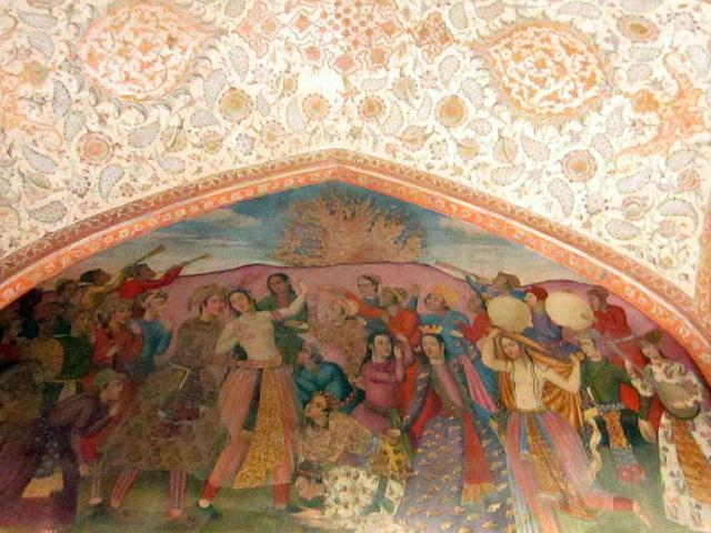 The European style wall paintings at Chehel Sotoun Palace