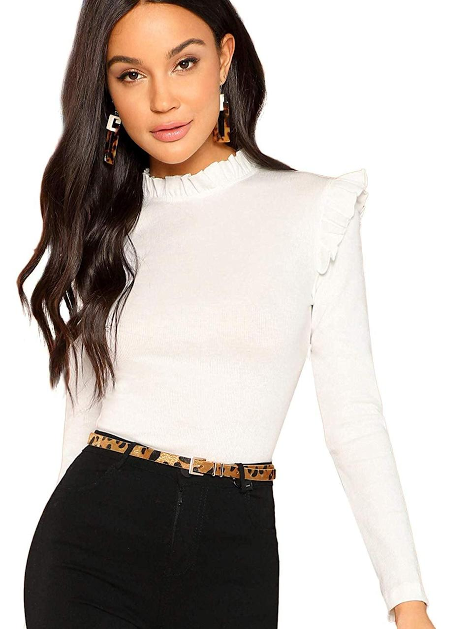 """<p>This <a href=""""https://www.popsugar.com/buy/Romwe-Stand-Collar-Slim-Fit-Frilled-Ruffles-Shoulder-Solid-Keyhole-Blouse-532853?p_name=Romwe%20Stand%20Collar%20Slim%20Fit%20Frilled%20Ruffles%20Shoulder%20Solid%20Keyhole%20Blouse&retailer=amazon.com&pid=532853&price=18&evar1=fab%3Aus&evar9=47165376&evar98=https%3A%2F%2Fwww.popsugar.com%2Ffashion%2Fphoto-gallery%2F47165376%2Fimage%2F47165537%2FRomwe-Stand-Collar-Slim-Fit-Frilled-Ruffles-Shoulder-Solid-Keyhole-Blouse&list1=shopping%2Camazon%2Cwinter%20fashion&prop13=mobile&pdata=1"""" class=""""link rapid-noclick-resp"""" rel=""""nofollow noopener"""" target=""""_blank"""" data-ylk=""""slk:Romwe Stand Collar Slim Fit Frilled Ruffles Shoulder Solid Keyhole Blouse"""">Romwe Stand Collar Slim Fit Frilled Ruffles Shoulder Solid Keyhole Blouse</a> ($18) comes in tons of different colors.</p>"""