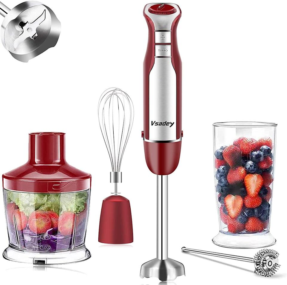 <p>Create soups, smoothies, lattes, and more with this powerful <span>Vsadey 5-in-1 Immersion Blender </span> ($35, originally $50).</p>