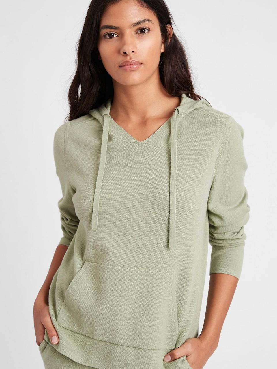 <p>I love the shade and slouchy fit of this <span>Sweater Hoodie</span> ($77, originally $110).</p>