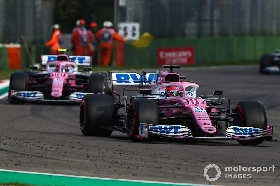 """Sergio Pérez, Racing Point RP20, Lance Stroll, Racing Point RP20<span class=""""copyright"""">Charles Coates / Motorsport Images</span>"""