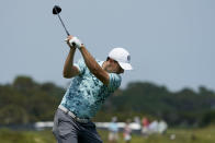 Jordan Spieth hits his tee shot on the 16th hole during a practice round at the PGA Championship golf tournament on the Ocean Course Tuesday, May 18, 2021, in Kiawah Island, S.C. (AP Photo/Matt York)