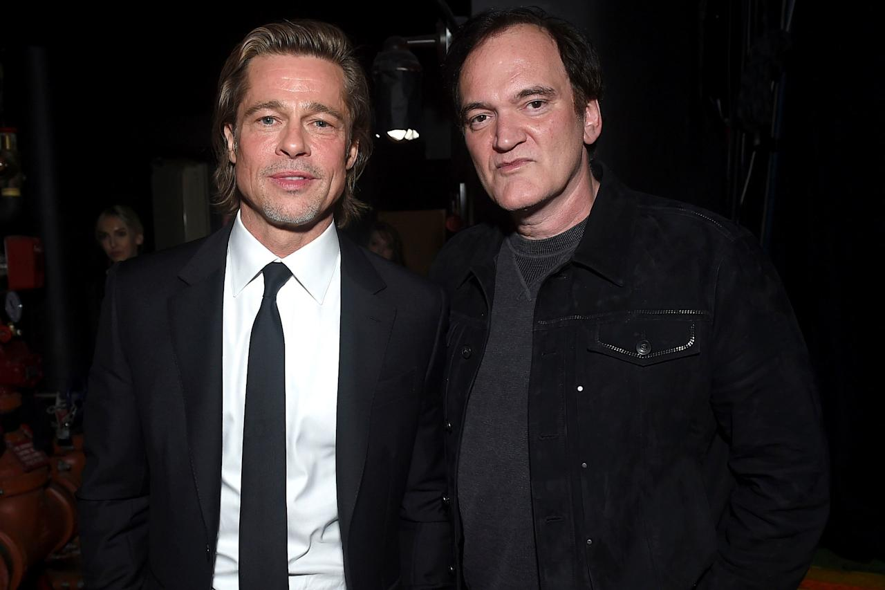 <em>Once Upon a Time in Hollywood</em>'s Brad Pitt and Quentin Tarantino attended the 31st annual Producers Guild Awards at the Hollywood Palladium in Los Angeles.