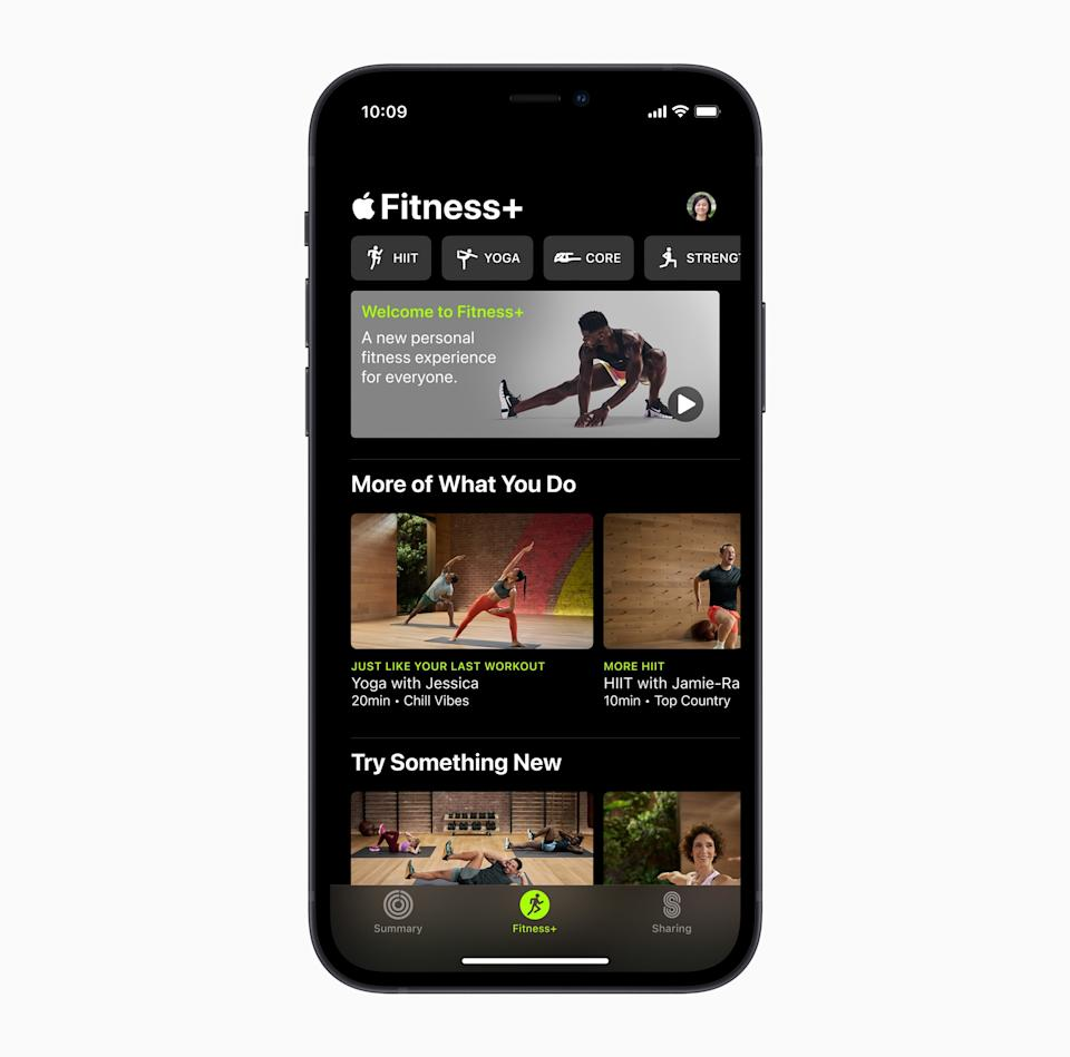 The Fitness+ app gives you access to any number of exercises and can be used as a routine viewing area. Picture: Apple)