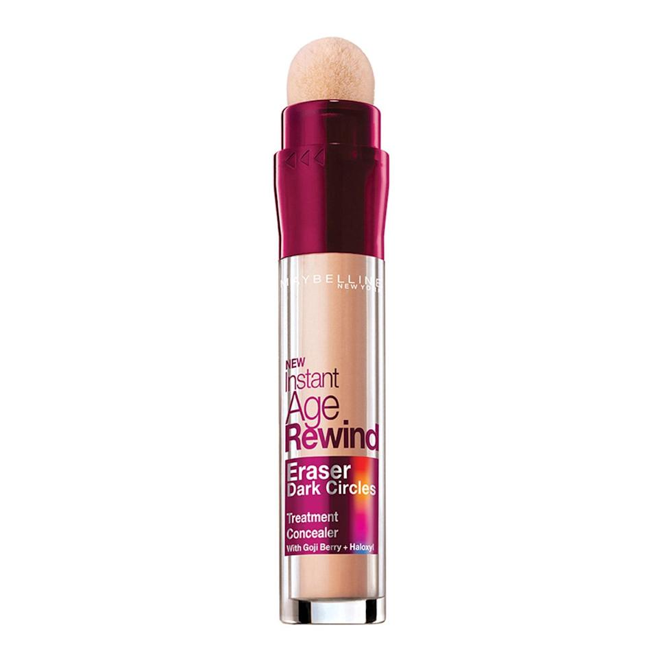 """With 18 shades available, an easy-to-apply sponge applicator, and a track record of <a href=""""https://www.allure.com/story/maybelline-new-york-instant-age-rewind-concealer-sold-every-five-seconds?mbid=synd_yahoo_rss"""" rel=""""nofollow noopener"""" target=""""_blank"""" data-ylk=""""slk:one sold every five seconds"""" class=""""link rapid-noclick-resp"""">one sold every five seconds</a> — it's no wonder why Maybelline New York's Instant Age Rewind Concealer has won both Best of Beauty and Readers' Choice Awards. For less than $10, you can cover dark circles and smooth fine lines, without any cakey feeling on your face. $10, Amazon. <a href=""""https://www.amazon.com/Maybelline-Instant-Circles-Treatment-Concealer/dp/B07Q89CD7W/ref=sr_1_1_sspa?"""" rel=""""nofollow noopener"""" target=""""_blank"""" data-ylk=""""slk:Get it now!"""" class=""""link rapid-noclick-resp"""">Get it now!</a>"""