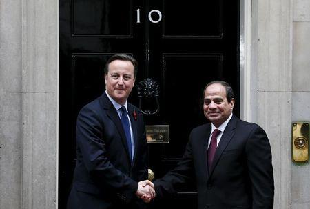 Britain's Prime Minister Cameron meets Egypt's President Sisi outside of 10 Downing Street in London