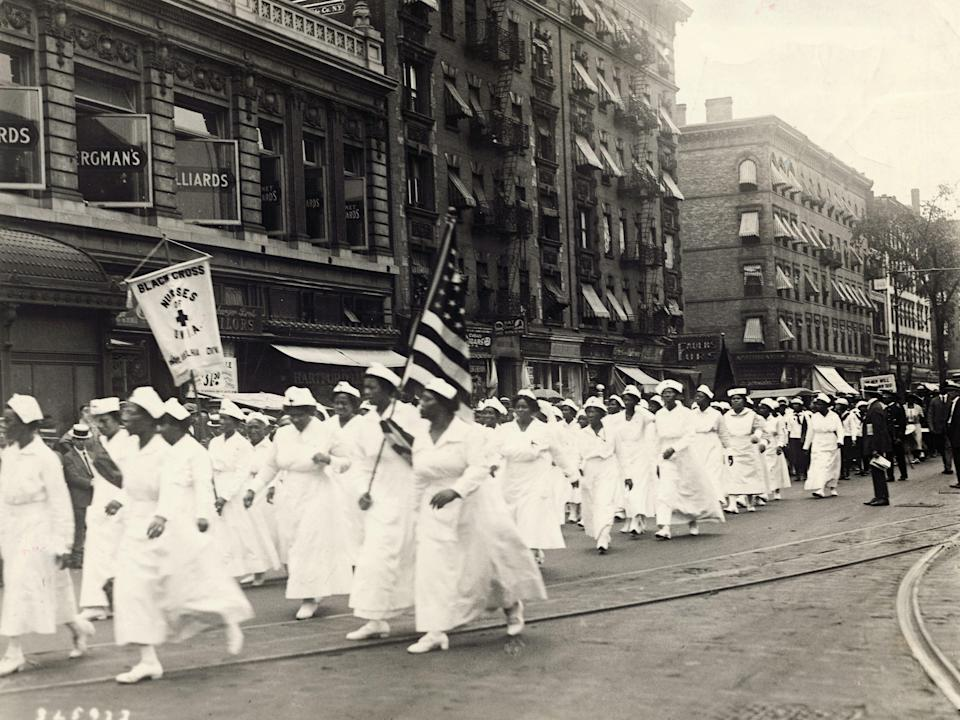 Black Cross nurses in a parade through Harlem during the world convention of the Universal Negro Improvement Association.