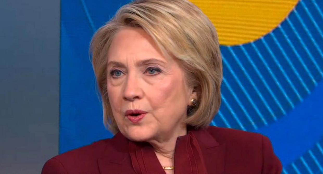 "Hillary Clinton discusses the House impeachment inquiry on ""Good Morning America."" (Photo: ABCNews.com)"