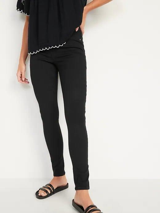 <p>Grab a pair of <span>Old Navy Extra High-Waisted Rockstar 360° Stretch Black Super Skinny Jeggings</span> ($35, originally $40) when you want to be wearing <em>actual</em> black leggings. (And, with only a faux fly, there are zero zippers or buttons here.)</p>
