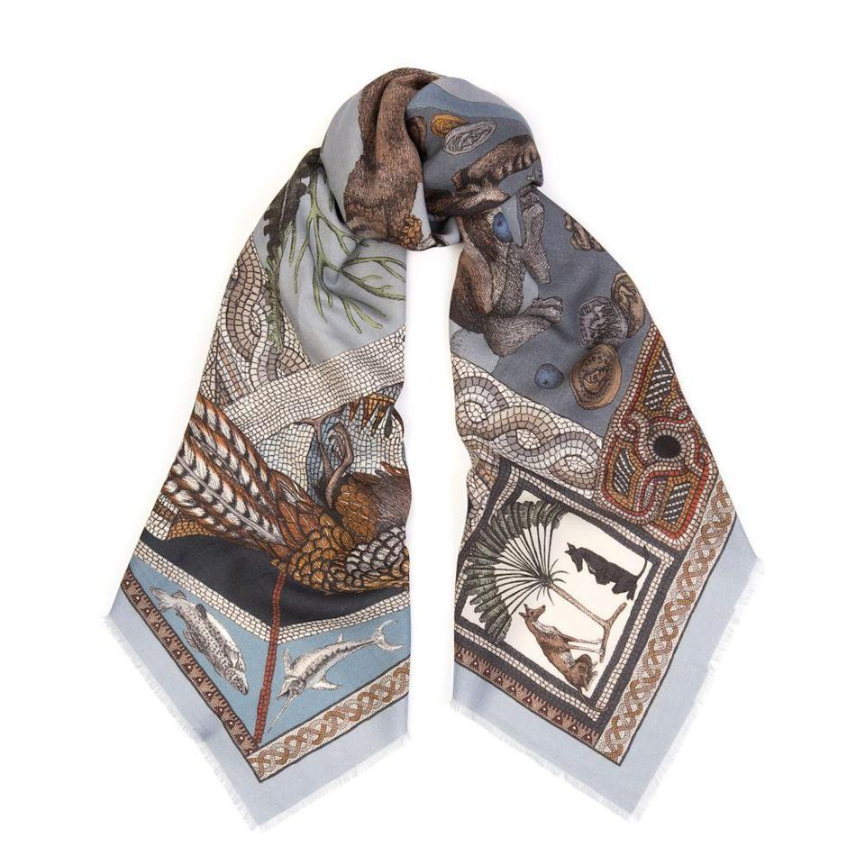 """<p>Each of Sabina Savage's beautifully illustrated print designs is hand-drawn onto paper before being transferred onto silk or wool. The result? Exquisitely detailed scenes featuring lavish landscapes and exotic creatures that are sure to delight year after year. KIM PARKER</p><p>Silk scarf, from £80, <a href=""""https://sabinasavage.com/product/fortunas-box-acqua-pigeon-square/"""" rel=""""nofollow noopener"""" target=""""_blank"""" data-ylk=""""slk:Sabina Savage"""" class=""""link rapid-noclick-resp"""">Sabina Savage</a></p>"""