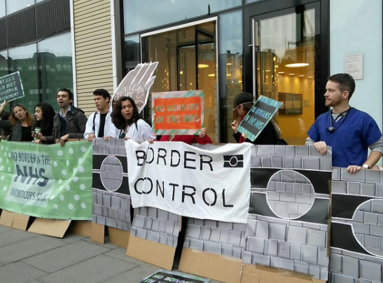 <strong>Protestors gathered outside the Department of Health's offices in central London on Monday morning.</strong> (DocsNotCops)