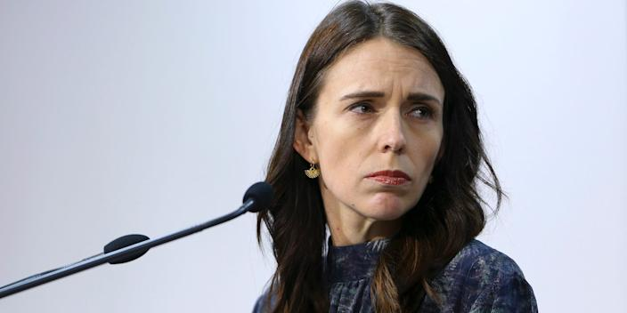 Prime Minister Jacinda Ardern looks on during a press conference at Parliament on April 19 in Wellington, New Zealand.