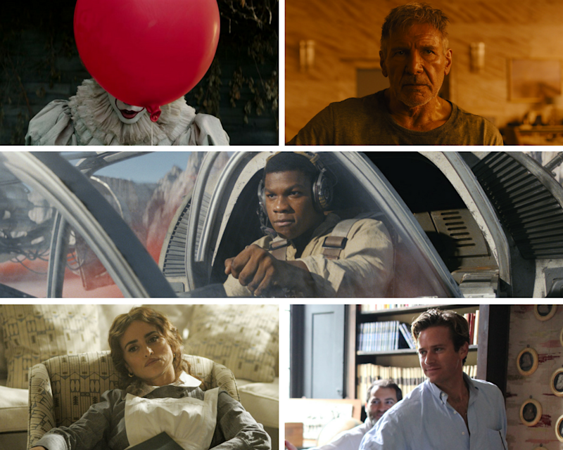 "Clockwise: ""It,"" ""Blade Runner 2049,"" ""Star Wars: The Last Jedi,"" ""Call Me By Your Name"" and ""Murder on the Orient Express."""