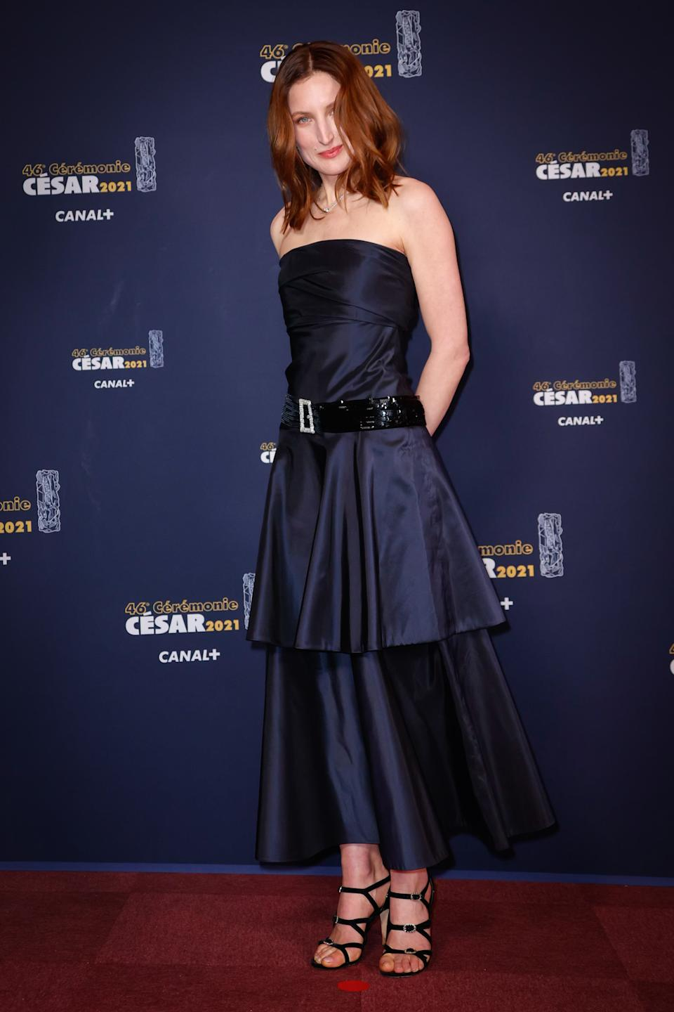 <p>Julia Piaton a opté pour une robe bustier à double volants. (Photo by Thomas Samson/Pool/SC Pool - Corbis/Corbis via Getty Images)</p>