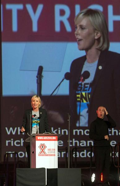 """Theron ruffled feathers last year at the 21st International AIDS conference in Durban, South Africa, when she said the spread of the HIV virus which is ravaging Africa was fuelled by """"sexism, poverty and homophobia"""""""