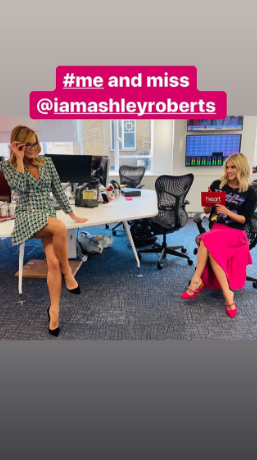 Amanda Holden and Ashley Roberts and the Heart FM studio (Instagram)