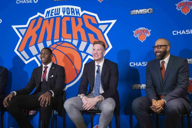 The New York Daily News was barred from a news conference introducing Knicks drafts picks RJ Barrett and Ignas Brazdeikis. (AP Photo/Mary Altaffer)