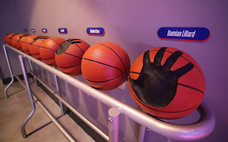 Opening day for NBA Experience, a basketball-driven interactive attraction at Disney Springs in Orlando, Fla., on August 12, 2019. (Ricardo Ramirez Buxeda/Orlando Sentinel/Tribune News Service via Getty Images)