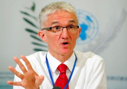 FILE PHOTO - Mark Lowcock, United Nations Under-Secretary-General for Humanitarian Affairs and Emergency Relief Coordinator (OCHA) attends a news conference in Geneva, Switzerland April 26, 2018. REUTERS/Denis Balibouse