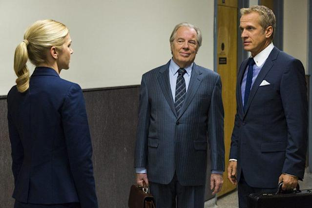 Rhea Seehorn as Kim Wexler, Michael McKean as Chuck McGill, and Patrick Fabian as Howard Hamlin in AMC's <em>Better Call Saul</em>. (Photo: Michele K. Short/AMC/Sony Pictures Television)