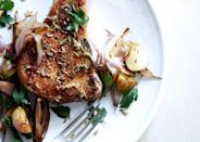 """Cutting the vegetables into similarly sized pieces helps them cook at the same rate, so this entire dish—sauce included—can be made in one pan. <a href=""""https://www.bonappetit.com/recipe/fennel-crusted-pork-chops-with-potatoes-and-shallots?mbid=synd_yahoo_rss"""" rel=""""nofollow noopener"""" target=""""_blank"""" data-ylk=""""slk:See recipe."""" class=""""link rapid-noclick-resp"""">See recipe.</a>"""