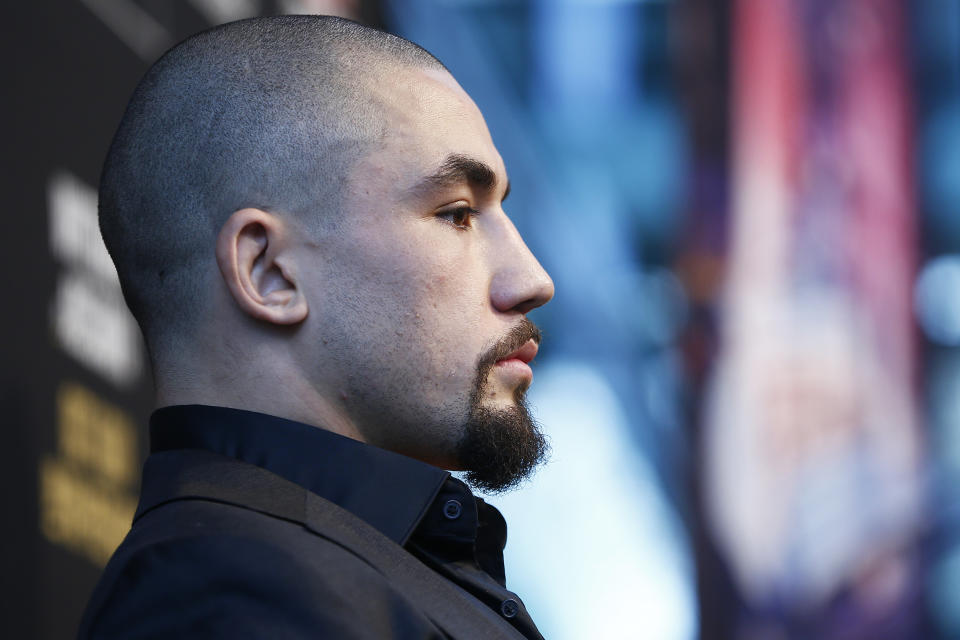 MELBOURNE, AUSTRALIA - AUGUST 15: Robert Whittaker speaks during a UFC Australia press conference at Federation Square on August 15, 2019 in Melbourne, Australia. (Photo by Daniel Pockett/Zuffa LLC/Zuffa LLC via Getty Images)