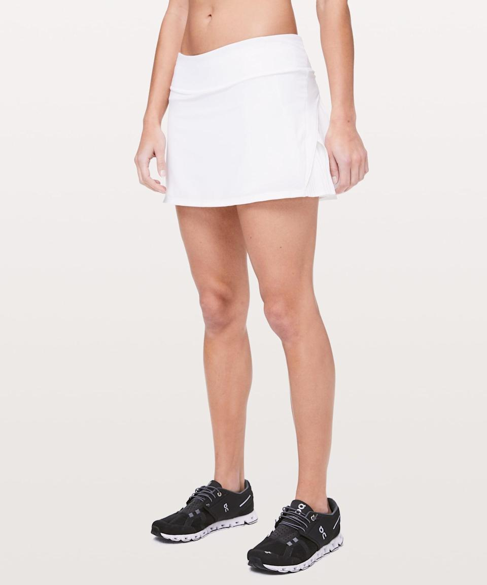 <p>An all-white tennis skirt is always a good idea, and we like this <span>Lululemon Play Off The Pleats Mid Rise Skirt</span> ($68).</p>