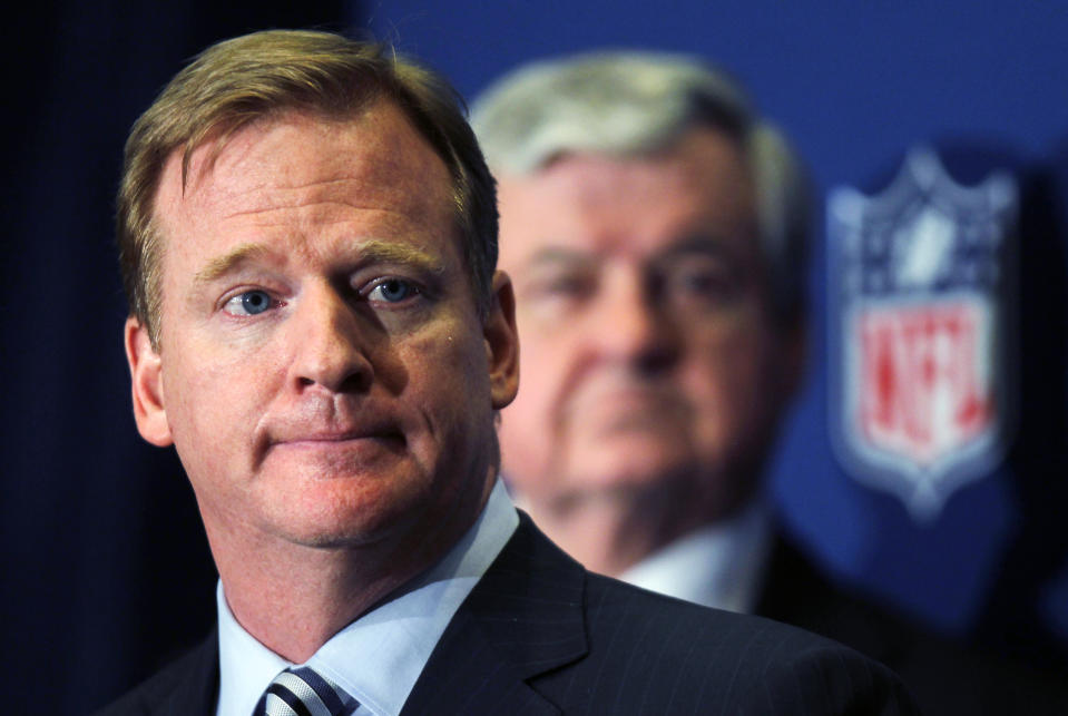 FILE - In this Thursday, July 21, 2011 file photo, NFL Commissioner Roger Goodell announces that NFL owners have agreed to a tentative agreement that would end the lockout, pending player approval in College Park, Ga. The process of building the NFL schedule used to be a painstaking one with executives like Val Pinchbeck spending months slotting the games one by one on his board until there was a final product for the commissioner to approve. Making late tweaks or looking at alternative options with a big game moving from early to late in the season weren't really possible for all the pieces of the complicated jigsaw puzzle to fit.(AP Photo/John Bazemore, File)