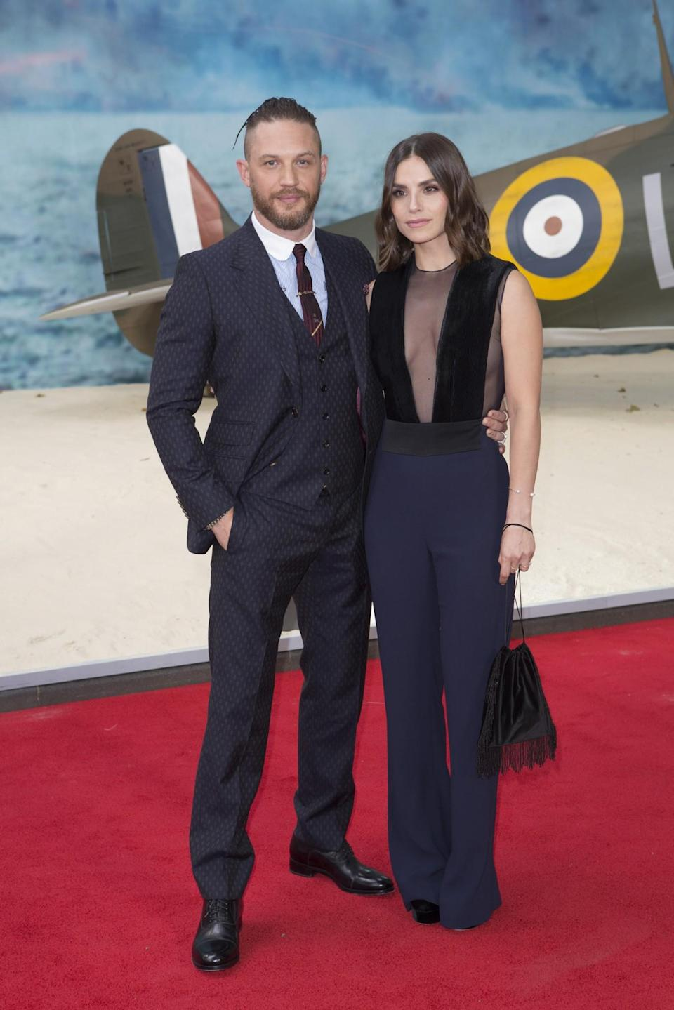 <p>Tom Hardy with partner Charlotte Riley (WB) </p>