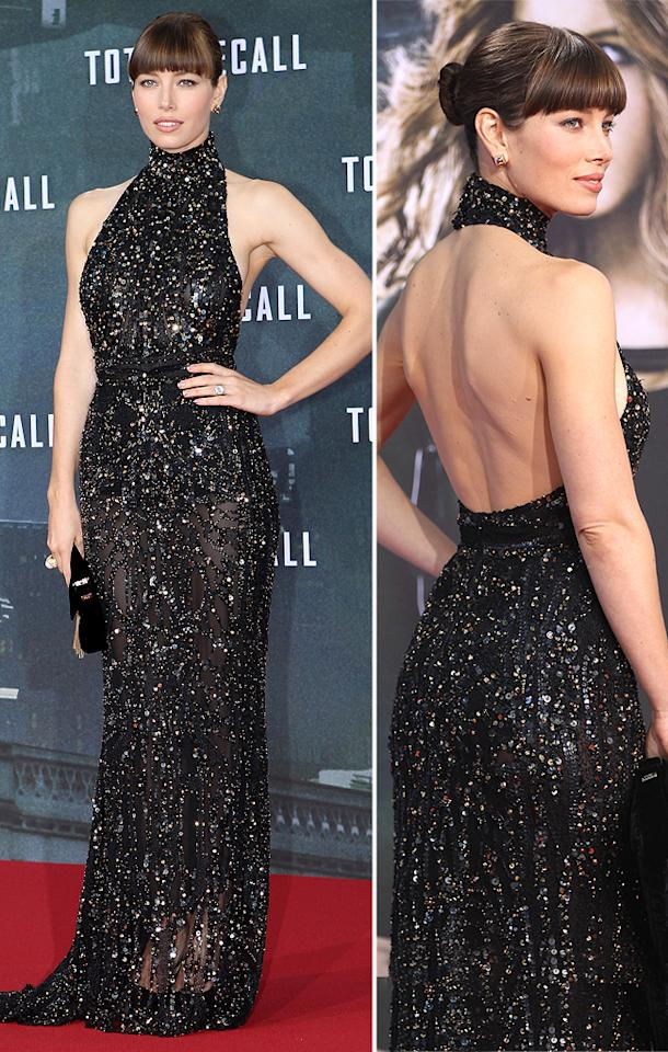"Beckinsale's ""Total Recall"" co-star Jessica Biel also dressed to impress (for once!). The actress, who put her best, er, assets on display in a sequined, backless Elie Saab creation, topped off her look with a sleek bun, blunt bangs, and a big, blingy engagement ring -- courtesy of fiance Justin Timberlake. (8/13/2012)"