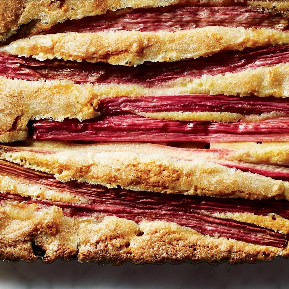 "Stalks of pretty, pink rhubarb sit astride a tender, chewy-edged almond cake, adding refreshing tartness, in this stunningly easy Easter dessert. <a href=""https://www.epicurious.com/recipes/food/views/rhubarb-almond-cake-56389380?mbid=synd_yahoo_rss"" rel=""nofollow noopener"" target=""_blank"" data-ylk=""slk:See recipe."" class=""link rapid-noclick-resp"">See recipe.</a>"