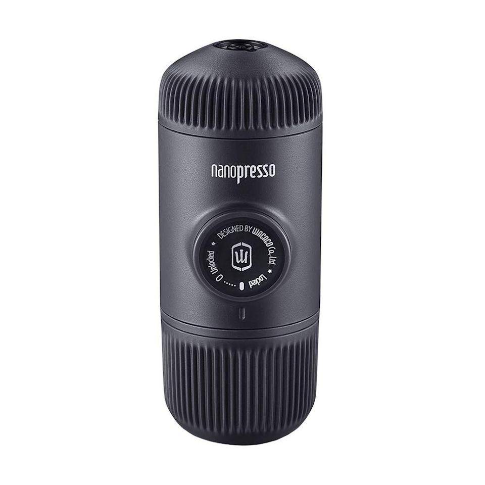 """<p><strong>Wacaco </strong></p><p>wacaco.com</p><p><strong>$64.90</strong></p><p><a href=""""https://www.wacaco.com/pages/nanopresso"""" rel=""""nofollow noopener"""" target=""""_blank"""" data-ylk=""""slk:Shop Now"""" class=""""link rapid-noclick-resp"""">Shop Now</a></p><p>Everyone knows that person who can't function until they have their espresso. This mini <a href=""""https://www.bestproducts.com/appliances/small/a14763523/reviews-best-espresso-machine/"""" rel=""""nofollow noopener"""" target=""""_blank"""" data-ylk=""""slk:espresso maker"""" class=""""link rapid-noclick-resp"""">espresso maker</a> is the perfect on-the-go gadget that works with any Nespresso brand capsules. They can toss in their favorite brew, add hot water, and pour. Cheers!</p>"""