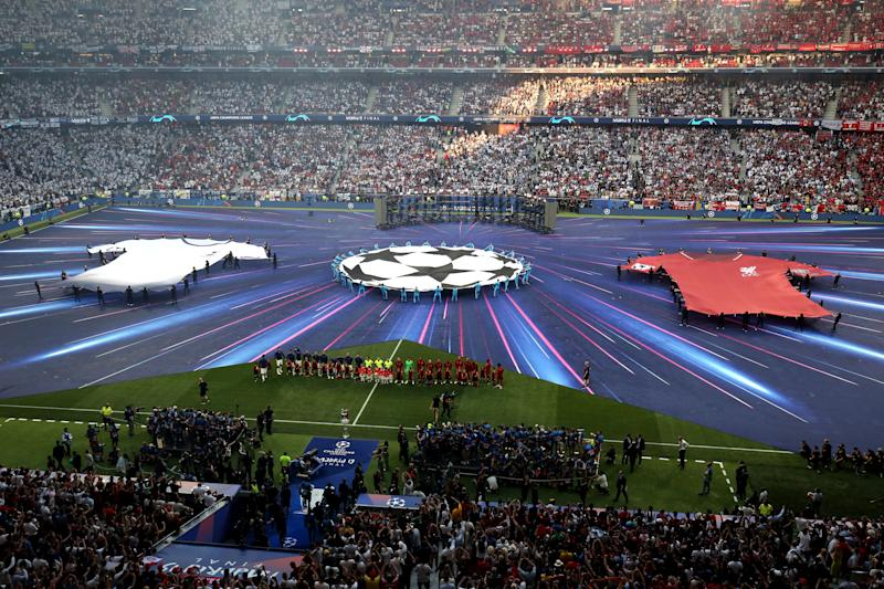 MADRID, SPAIN - JUNE 01: A general view (GV) of Wanda Metropolitano during the opening ceremony ahead of the UEFA Champions League Final between Tottenham Hotspur and Liverpool at Estadio Wanda Metropolitano on June 1, 2019 in Madrid, Spain. (Photo by Charlotte Wilson/Offside/Getty Images)