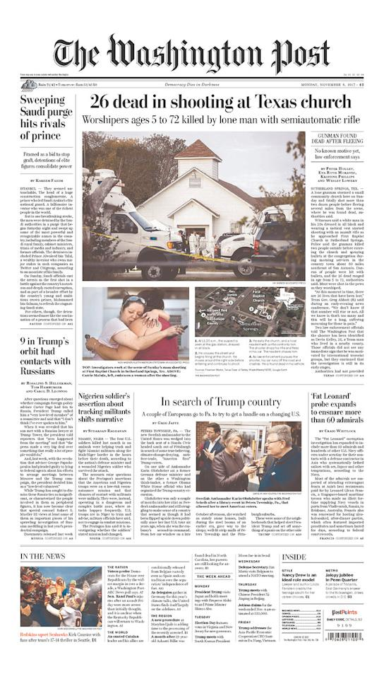 <p>THE WASHINGTON POST<br /> Published in Washington, D.C. USA. (newseum.org) </p>