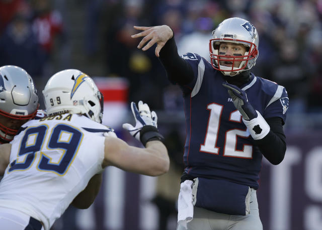 New England Patriots quarterback Tom Brady picked apart the Chargers, and he and Brady will play the Chiefs for the AFC championship next week. (AP)