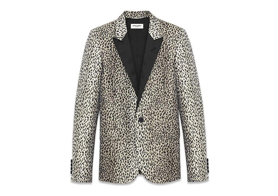 <p>Saint Laurent Iconic Le Smoking Jacket in Beige and Black Babycat Jacquard, $1,609, <a>ysl.com</a></p>