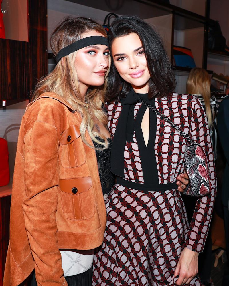 Paris Jackson and Kendall Jenner attend the opening of Longchamp's Fifth Avenue flagship store.