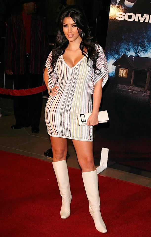"Kim Kardashian leaves little to the imagination in this low cut, hip-hugging mini dress! Jean Baptiste Lacroix/<a href=""http://www.wireimage.com"" target=""new"">WireImage.com</a> - October 25, 2007"