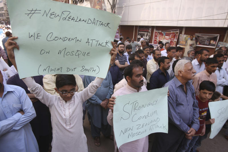"Pakistanis protest to condemn the New Zealand mosque shooting, in Karachi, Pakistan, Friday, March 15, 2019. Pakistan's prime minister Imran Khan has condemned attacks on two mosques in New Zealand, saying he blames rising ""Islamophobia."" Khan wrote Friday on Twitter that ""terrorism does not have a religion."" (AP Photo/Fareed Khan)"